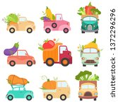 cute colorful trucks delivering ... | Shutterstock .eps vector #1372296296