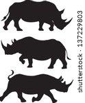 Rhino Silhouette Vector Set Of...