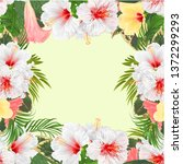 frame bouquet with tropical... | Shutterstock .eps vector #1372299293