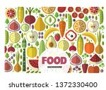fruits and vegetables icons set. | Shutterstock .eps vector #1372330400