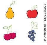 berries and fruits. flat design.... | Shutterstock .eps vector #1372336073