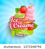 strawberry ice cream logo on... | Shutterstock .eps vector #1372348796