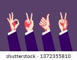 Set Of Hand Gestures. Victory...