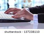 close up of typing male hands | Shutterstock . vector #137238110