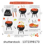 how to cook barbecue meat ... | Shutterstock .eps vector #1372398173