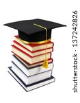 stack of books with graduation... | Shutterstock . vector #137242826