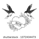 swallows with heart vector...   Shutterstock .eps vector #1372434473