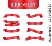 red ribbons set. vector design... | Shutterstock .eps vector #1372438880