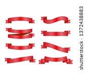 red ribbons set. vector design... | Shutterstock .eps vector #1372438883