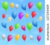 colored ballons in blue sky | Shutterstock . vector #137245409