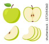 green apple cartoon set. cross... | Shutterstock .eps vector #1372454360