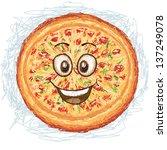 happy pizza cartoon character...