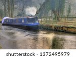 canal barge winter | Shutterstock . vector #1372495979