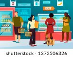 simple man  woman at grocery or ... | Shutterstock .eps vector #1372506326
