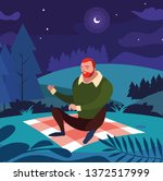 man seated in the field picnic...   Shutterstock .eps vector #1372517999