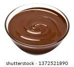 glass bowl of chocolate cream...   Shutterstock . vector #1372521890
