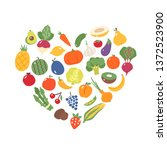 fruits and vegetables. flat... | Shutterstock .eps vector #1372523900