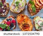 flat lay of small open faced... | Shutterstock . vector #1372534790