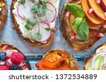 flat lay of small open faced... | Shutterstock . vector #1372534889