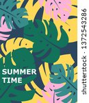 colorful summer poster with... | Shutterstock .eps vector #1372543286