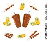 kebab set. collection icon... | Shutterstock .eps vector #1372567103