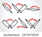 knife set. collection icon... | Shutterstock .eps vector #1372573229
