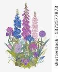 lovely garden. flowerbed.... | Shutterstock .eps vector #1372577873