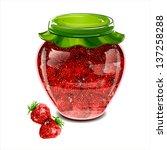 jar of strawberry jam. vector... | Shutterstock .eps vector #137258288