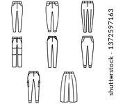 set of women's pants outlined... | Shutterstock .eps vector #1372597163
