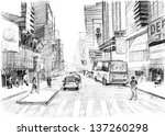 pencil drawing of  a big modern ... | Shutterstock . vector #137260298