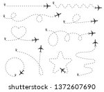 path of the aircraft. set of... | Shutterstock .eps vector #1372607690