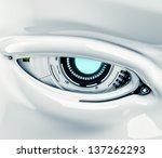 Cyber Eye Closeup With Signs  ...