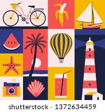 vector summer illustration ... | Shutterstock .eps vector #1372634459