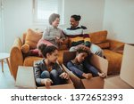 family are playing together in... | Shutterstock . vector #1372652393