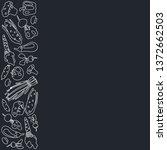vertical frame of vegetables in ... | Shutterstock .eps vector #1372662503