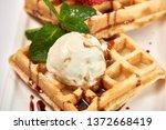 belgian waffles with...   Shutterstock . vector #1372668419