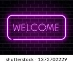 neon welcome banner. color neon ... | Shutterstock .eps vector #1372702229
