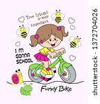 Girl Riding Bicycle Design...