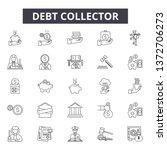 debt collector line icons ... | Shutterstock .eps vector #1372706273