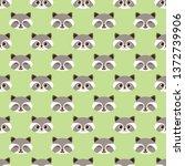 cute funny raccoon vector... | Shutterstock .eps vector #1372739906