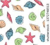 sea theme seamless pattern... | Shutterstock .eps vector #1372748513