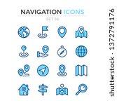 navigation icons. vector line... | Shutterstock .eps vector #1372791176