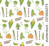 vegetables kawaii pattern | Shutterstock .eps vector #1372826573