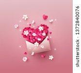 opened envelope full of origami ... | Shutterstock .eps vector #1372840076