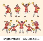 girls cheering. flat design... | Shutterstock .eps vector #1372865813
