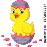 cartoon little chick hatching... | Shutterstock .eps vector #1372883369
