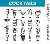 cocktails  alcohol and soft... | Shutterstock .eps vector #1372891046
