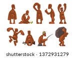 Stock vector funny bigfoot cartoon character set mythical creature in different situations vector illustrations 1372931279