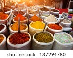 Indian Colored Spices At Anjun...