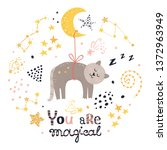 poster with cat  stars and... | Shutterstock .eps vector #1372963949